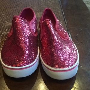 Pink sparkly slip on shoes
